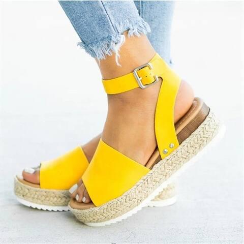 Casual Rivet One Word Buckle Platform Sandals Women