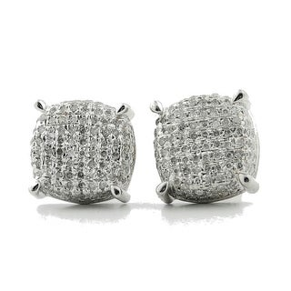 0.55Cttw Diamond Silver Cushion Stud Earrings 10mm Wide Screw Back Wide Pave Set Fashion Earrings(i2/i3 ,i/j) - White
