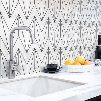 "SomerTile Palm Starburst Hex White 6"" x 7"" Porcelain Floor and Wall Tile"