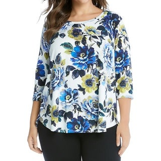 Karen Kane Womens Casual Top Floral Print 3/4 Sleeves