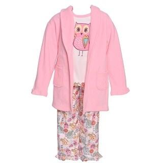 Sol Sleep Little Girls Pink Owl Print Long Sleeve Robe Pajamas 3 Pc Set