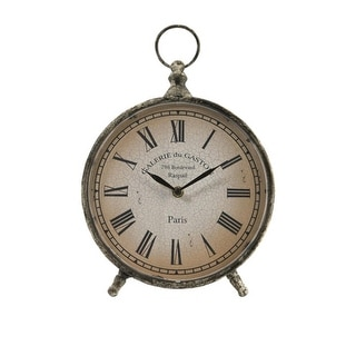 """11.5"""" Distressed Over-Sized """"Pocket Watch"""" Style Roman Numeral Desk Clock"""