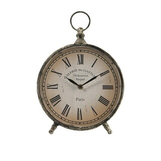 "11.5"" Distressed Over-Sized ""Pocket Watch"" Style Roman Numeral Desk Clock"