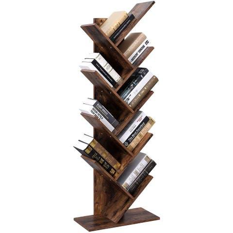 9-Shelf Bookcase Rack Wooden Tree Free Standing Book Shelf Storage Organizer Bookshelf