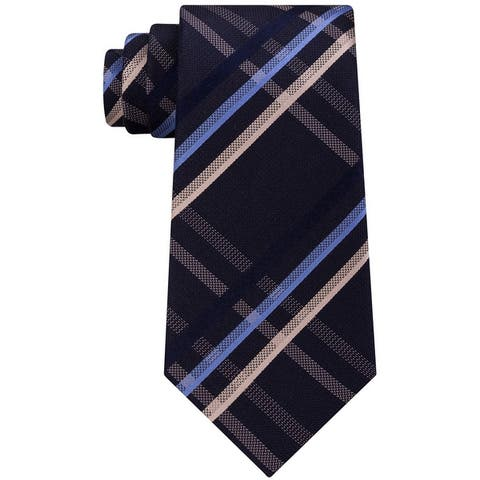 Kenneth Cole Mens Grid Self-Tied Necktie - One Size