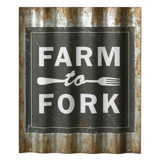 """Set of 2 Black and Gray Rusted Galvanized Corrugated """"Farm to Fork"""" Wall Decors 22"""
