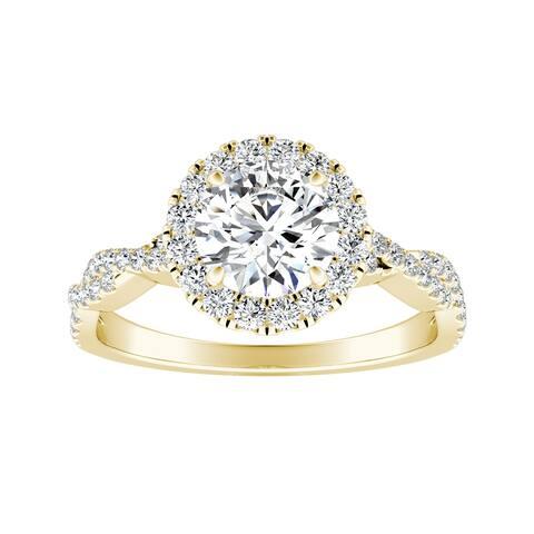 Auriya 14k Gold 1ct Round Moissanite Halo Diamond Engagement Ring 1/8ctw