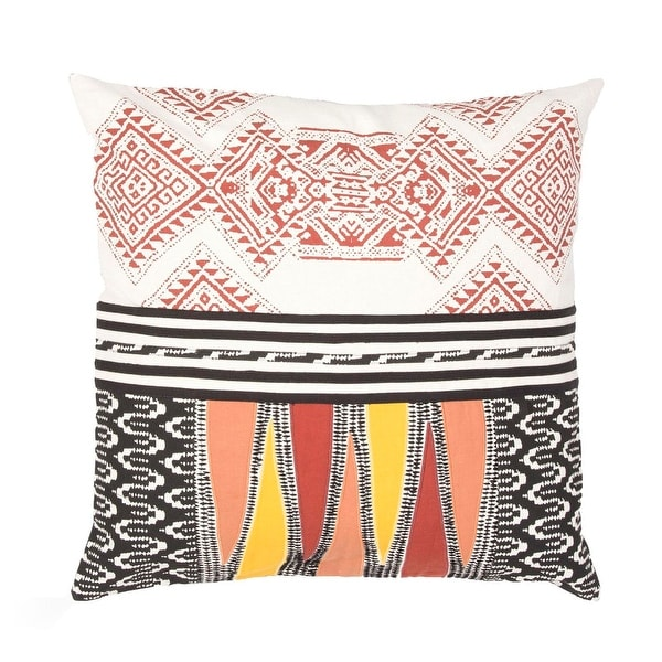 "22"" Mud Red, Sunset Yellow, Black and Breeze White Tribal Pattern Decorative Throw Pillow"