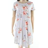 Hotapei Blue Pink Womens Size Medium M Floral Print A-Line Dress