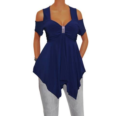 Funfash Women Plus Size Navy Blue Rhinestones Top Shirt Made in USA