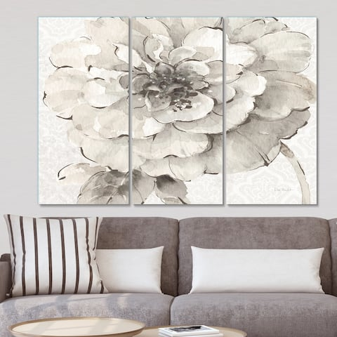 Porch & Den 'Indigold Grey Peonies I' Canvas Wall Art