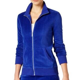 Michael Kors NEW Blue Women's Size Medium M Full-Zip Velour Sweater