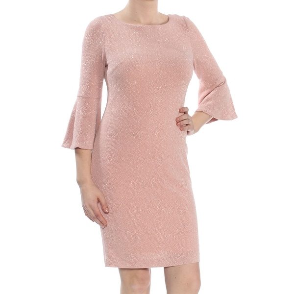 bb8428d9ca1 Shop CALVIN KLEIN Womens Pink Shimmer Bell Sleeve Jewel Neck Above The Knee  Sheath Wear To Work Dress Petites Size  10 - On Sale - Free Shipping Today  ...