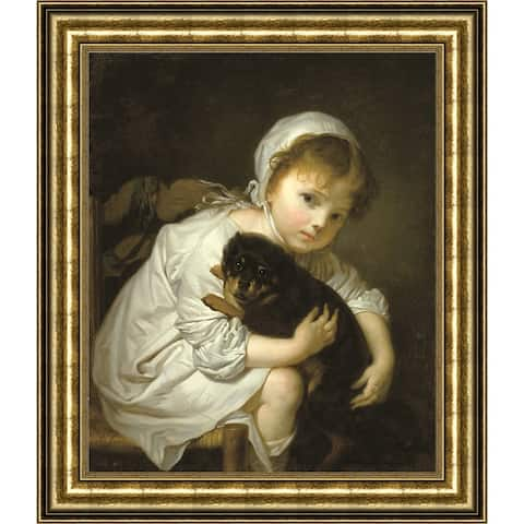 """Petite fille au chien by Jean-Baptiste Greuze Giclee Print Oil Painting Gold Frame Size 15"""" x 17"""""""