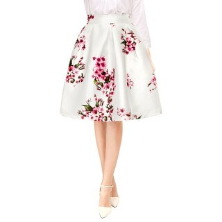 Unique Bargains Women's High Waist Floral Prints Pleated A Line Midi Skirt - White