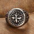 Rose Petal Emblem Stainless Steel Ring - Thumbnail 1