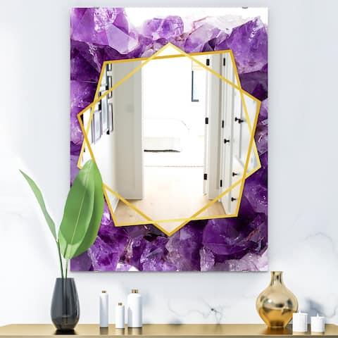 Designart 'Purple Amethyst' Modern Mirror - Frameless Contemporary Wall Mirror