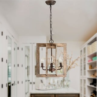 Link to 4-Light Modern Farmhouse Rectangular Wood Chandelier Similar Items in Chandeliers