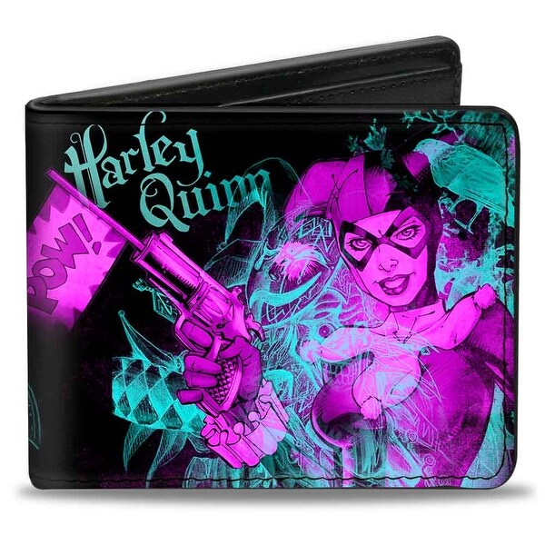 Harley Quinn Pow + Aiming Poses Joker Sketch Black Turquoise Fuchsia Bi Bi-Fold Wallet - One Size Fits most