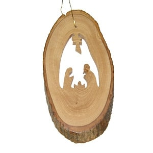 Earthwood Olive Wood Ornament with Nativity