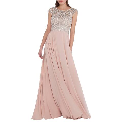 Terani Couture Embellished Prom Formal Dress - Champagne