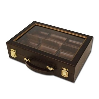 CAS-0300W 300 Ct Walnut Wooden Case with See Through Lid