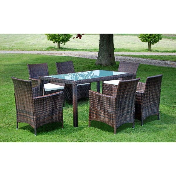 vidaXL Outdoor Dining Set 13 Piece Poly Rattan Wicker Brown Seater Glass Table