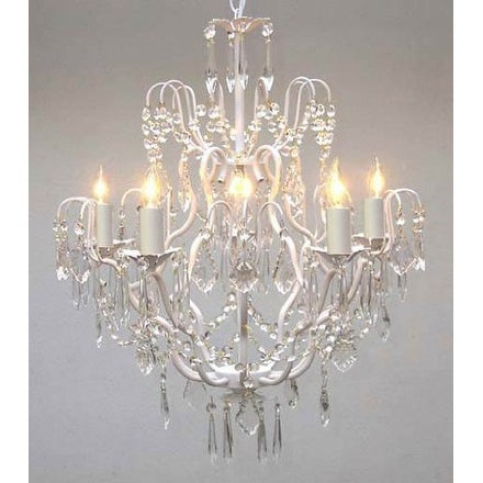 White Wrought Iron Crystal Chandelier Lighting H27 x W21
