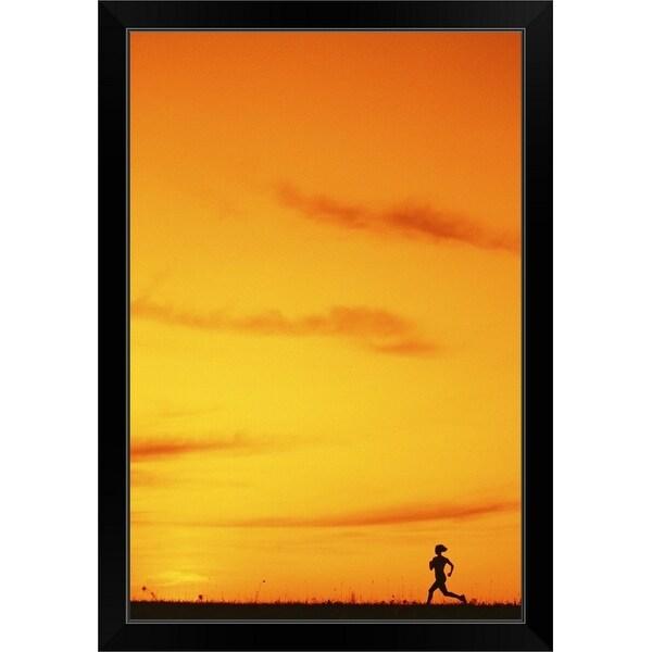 """""""Silhouette of runner at sunset"""" Black Framed Print"""