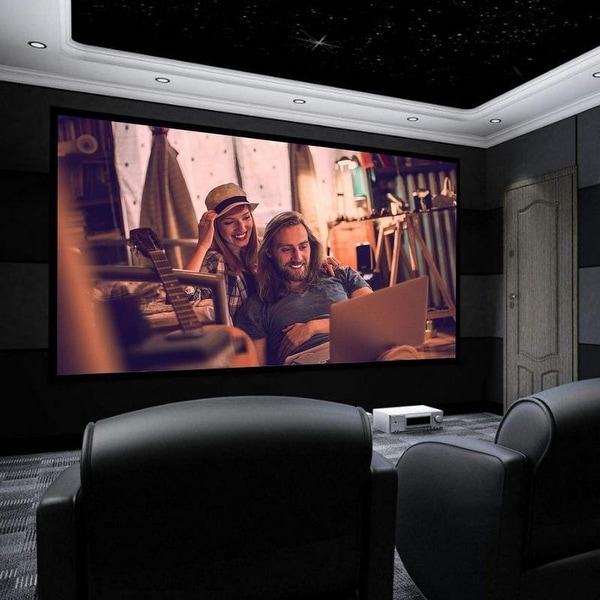 "100""/120"" 16:9 HD Home Theater Fixed Velvet Frame Projector. Opens flyout."