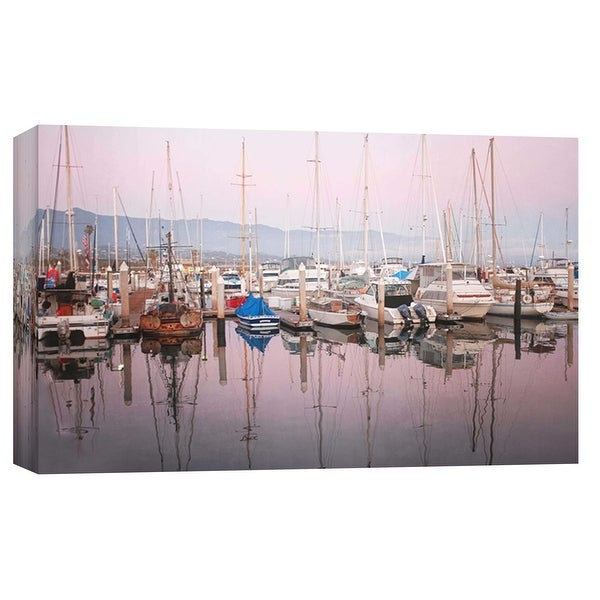 "PTM Images 9-102234 PTM Canvas Collection 8"" x 10"" - ""Santa Barbara Harbor"" Giclee Sailboats Art Print on Canvas"