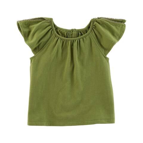 Carter's Little Girls' Split Shoulder Jersey Top, Olive, 3-Toddler