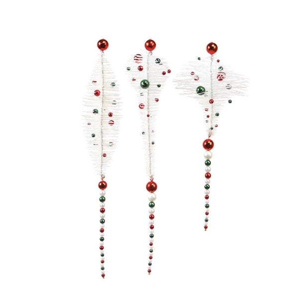 """Pack of 6 Candy Crush Red, White & Green Beaded Christmas Ornaments 16"""""""