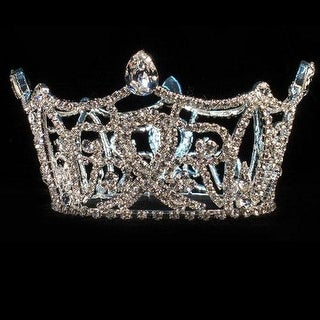 Girls Silver Full Round Pageant Quinceanera Communion Crown Headpiece