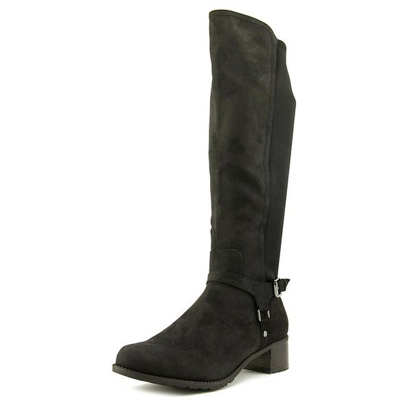 Madeline Frenzied Women Round Toe Canvas Black Knee High Boot