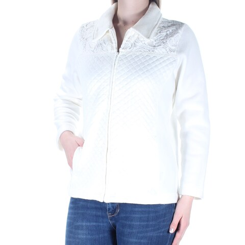 Womens Ivory Casual Zip Up Jacket Size 8