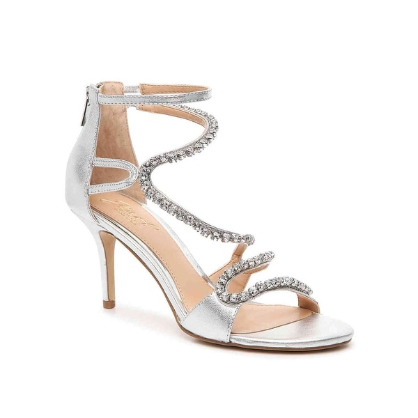 BADGLEY MISCHKA Womens Liberty Leather Open Toe Bridal Strappy, Silmet, Size 8.0 - 8