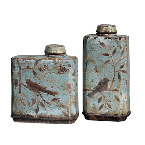 Uttermost 19547 Freya Containers Set of 2 - Crackled Blue