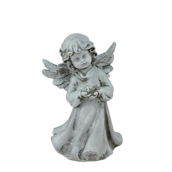 "6.5"" Heavenly Gardens Distressed Gray Cherub Angel Girl with Flower Outdoor Patio Garden Statue"
