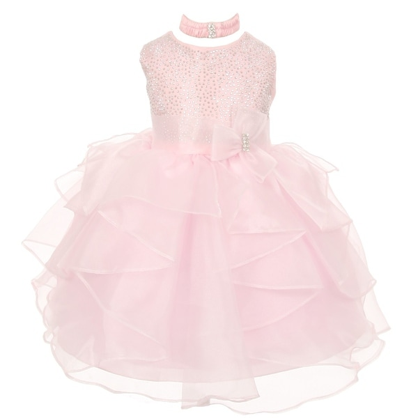 Baby Girls Light Pink Organza Rhinestuds Bow Sash Flower Girl Dress 6-24M