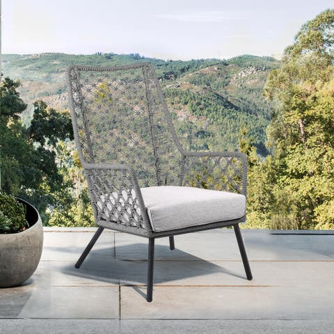 Marco Polo Indoor Outdoor Steel Lounge Chair with Rope and Grey Cushion