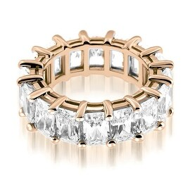 5.50 cttw. 14K Rose Gold Classic Bar Set Emerald Cut Diamond Eternity Ring