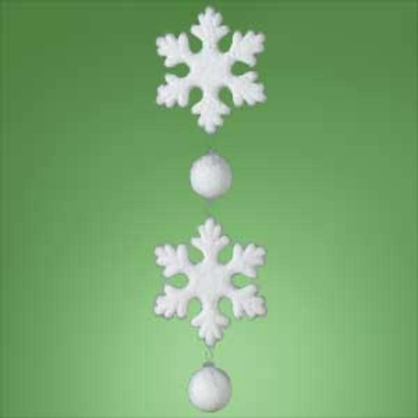 "Huge 24"" Dangling Glittery Snowflake Christmas Ornament"
