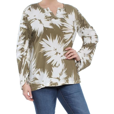 DKNY Womens Beige Ruched-sleeve Printed Top Size: L