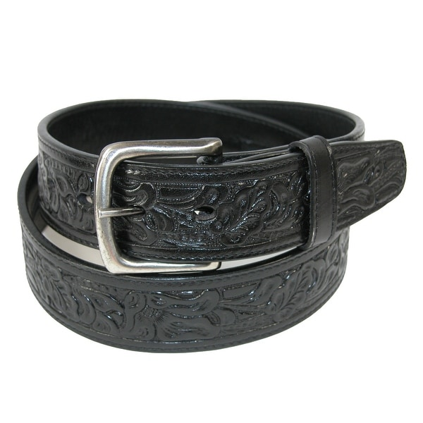 CTM® Embossed Leather Money Belt with Removable Buckle