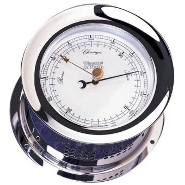 """8"""" Silver and White Contemporary Adjustable Round Barometer - N/A"""