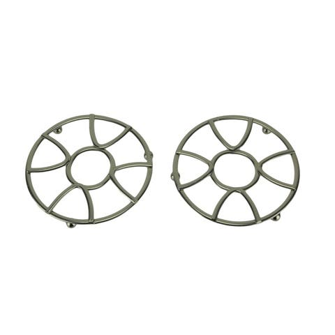 Satin Nickel Finish Metal Modern Design Trivets Set of 2 - 0.75 X 8 X 8 inches