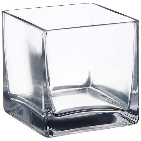 """Afloral Clear Cube Glass Vase 6"""" x 6"""""""