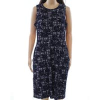 Leota Deep Blue Womens Size Large L Floral Pocket Sheath Dress
