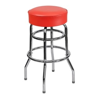 Offex Double Ring Chrome Barstool With Red Seat